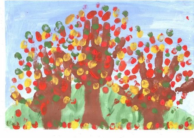 рисование пальчиками - деревья