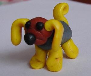 поделки из пластилина - собачка