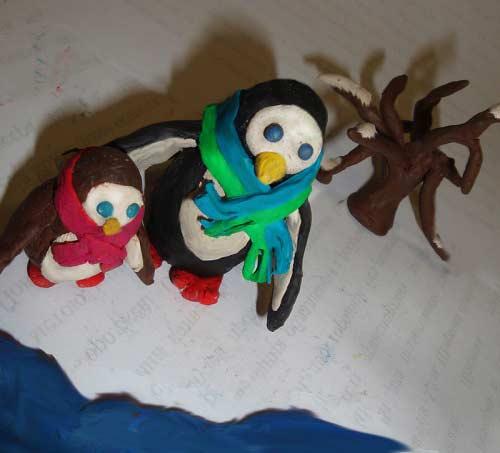 пингвины из пластилина