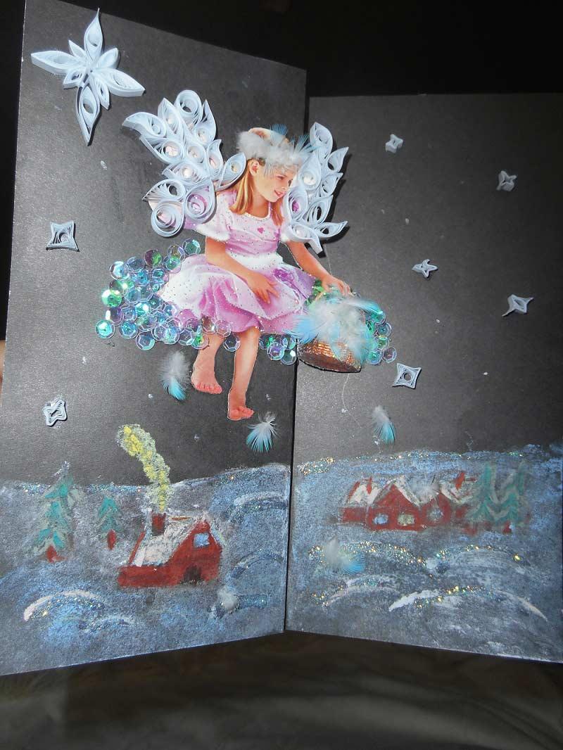 открытка на рождество скрапбукинг