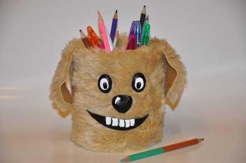 """поделка - подставка под карандаши """"собака-улыбака"""""""