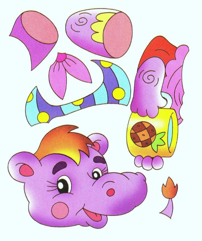 Аппликация Фиолетовый бегемот