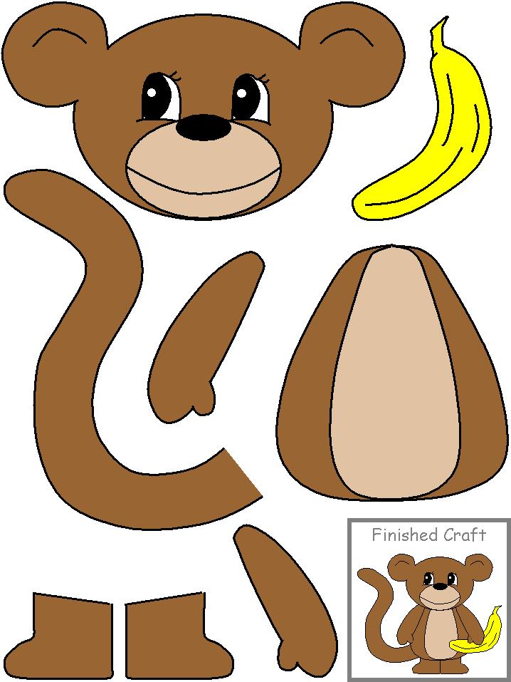 Аппликация Обезьяна с бананом