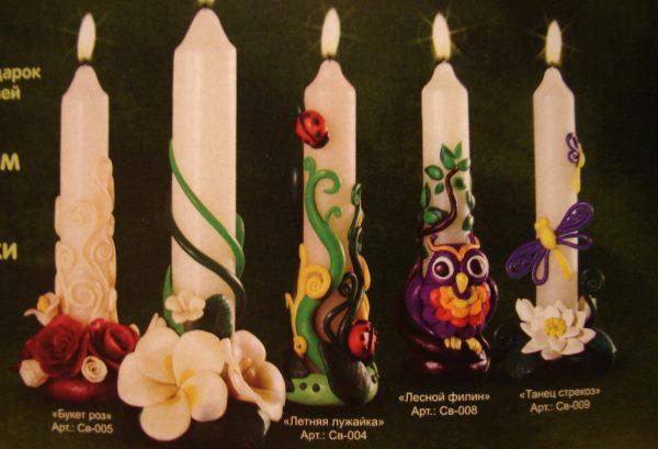 варианты украшения свечи